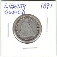 1891-P 25C SEATED LIBERTY QUARTER