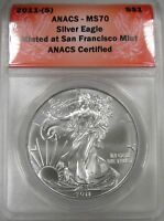 2011-S SILVER AMERICAN EAGLE ANACS MS70 CERTIFIED COIN AG601