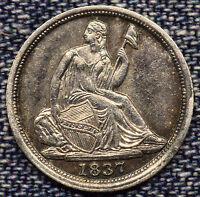 1837 SEATED LIBERTY HALF DIME B-3008 FLAT TOP 1 IN DATE SMALL DATE MS COIN