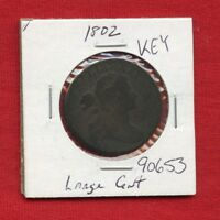 1802 DRAPED BUST LARGE CENT 1C 90653 $  COIN $ US MINT  KEY DATE ESTATE
