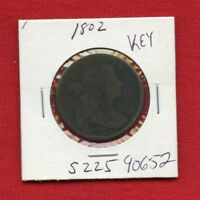 1802 DRAPED BUST LARGE CENT 1C 90652 $  COIN $ US MINT  KEY DATE ESTATE
