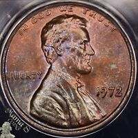 1972 DDO FS-101 MINT STATE 63 RB ANACS LINCOLN CENT MEMORIAL DOUBLED OBVERSE DIE 1 TONED