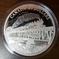 CANADA FINE SILVER 100TH ANN. OF COMPLETION PACIFIC RAILWAY 30 DOLLARS 2014