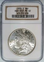1890 S MORGAN SILVER DOLLAR NGC MINT STATE 62 REDFIELD COLLECTION COIN HOARD PEDIGREE