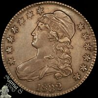 1832 50C CAPPED BUST LIBERTY SILVER HALF DOLLAR SMALL LETTERS O122 R1 AU CLEANED