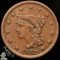 1842 1C BRAIDED HAIR ONE CENT LARGE DATE BROWN US COIN VF FINE