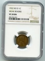 1922 NO D LINCOLN WHEAT CENT  VF 20 BN  NGC.  WEAK REVERSE.