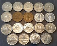 CANADIAN NICKELS GEORGE VII LOT OF 19 DIFFERENT : COMPLETE S