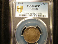 1858 CANADA TWENTY CENT ONE YEAR ONLY ISSUE GRADED BY PCGS A