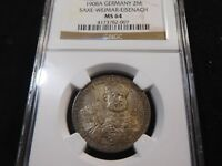 E79 GERMAN STATE SAXE WEIMAR EISENACH 1908 A 2 MARKS NGC MS