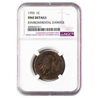 CERTIFIED FLOWING HAIR CENT 1793 FINE DETAILS NGC ENVIRONMENTAL DAMAGE