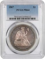 1867 $1 PCGS PR 64 - APPEALING, NATURAL COLOR - LIBERTY SEATED DOLLAR