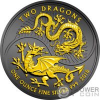 TWO DRAGONS RUTHENIUM 1 OZ SILVER COIN 2 UNITED KINGDOM 2018