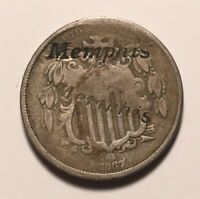 1867 SHIELD NICKEL COUNTERSTAMPED COUNTERMARKED MEMPHIS 18K STAMPED C/S