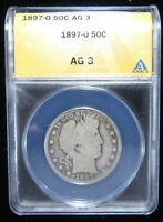 1897-O 50C ANACS AG 3. TOUGH AND DESIRABLE O-MINT ISSUE. 0119201