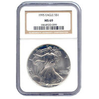 CERTIFIED UNCIRCULATED SILVER EAGLE 1995 MINT STATE 69