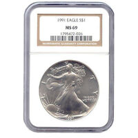 CERTIFIED UNCIRCULATED SILVER EAGLE 1991 MINT STATE 69