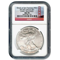 CERTIFIED UNCIRCULATED SILVER EAGLE 2013S MS70 EARLY RELEASE