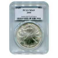 CERTIFIED UNCIRCULATED SILVER EAGLE 2000 MINT STATE 69 PCGS