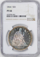 1864 LIBERTY SEATED S$1 NGC PR 66