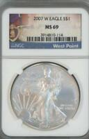 2007 W SILVER EAGLE DOLLAR NGC PF 69 WEST POINT LABEL