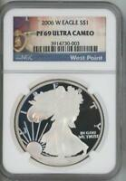 2006 W SILVER EAGLE DOLLAR PROOF NGC PF 69 ULTRA CAMEO WEST POINT LABEL