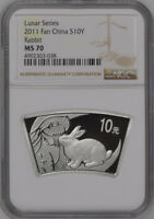 NGC MS70 2011 CHINA LUNAR SERIES RABBIT 1OZ SILVER FAN SHAPE COIN WITH COA