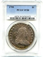 1799 DRAPED BUST LIBERTY SILVER DOLLAR, PCGS VF-30, STEEL TONING, PROBLEM FREE