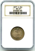 1877-S SILVER SEATED LIBERTY QUARTER, NGC MINT STATE 67, KILLER TONING, AWESOME COIN