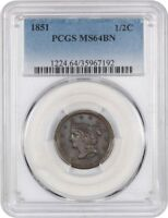 1851 1/2C PCGS MINT STATE 64 BN - LUSTROUS AND ORIGINAL - HALF CENT