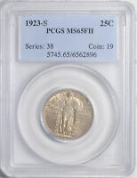 1923-S STANDING LIBERTY 25C PCGS MINT STATE 65 FH