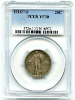 1918/7-S STANDING LIBERTY QUARTER, PCGS VF-30, KEY DATE,   TONING