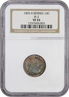 1805 10C NGC VF35 4 BERRIES, JR-2 COLORFUL EARLY DIME - BUST DIME