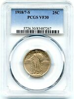 1918/7-S STANDING LIBERTY QUARTER OVERDATE, PCGS VF-30,   AND ORIGINAL
