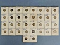 LOT OF 34 BARBER DIMES DATED FROM 1892 TO 1916