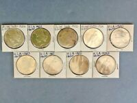 LOT OF 9 PEACE DOLLARS DATED FROM 1922 TO 1934
