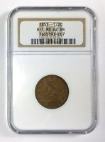 1853 1/2 BRAIDED HAIR HALF CENT B-1  NGC MINT STATE 62 BN BROWN