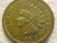 1864 L KEY DATE  INDIAN HEAD CENT ORIGINAL BEAUTIFUL MS BROW