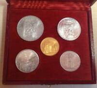 VATICAN 1950 POPE PIUS XII SET OF 5 COINS   L.100 GOLD HOLY