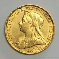 SCARCE 1897 S SYDNEY AUSTRALIA SOVEREIGN GOLD COIN SLIDER UN