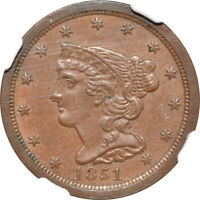 1851 BRAIDED HAIR HALF CENT MS / MINT STATE 61 BN, NGC 1/2C C41631