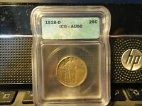 1918D STANDING LIBERTY QUARTER ICG AU50  COIN FOR COLLECTION 1128