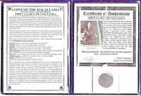TIBET SILVER TANKA COIN OF THE DALAI LAMA WITH ALBUM & CERTI