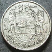 1945 CANADA SILVER FIFTY CENT COIN