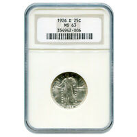 CERTIFIED STANDING LIBERTY QUARTER 1926-D MINT STATE 63 NGC