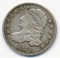 1834 CAPPED BUST SILVER DIME  EXTRA FINE  LARGE 4 VARIETY