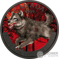 WOLF MAD ANIMALS RUTHENIUM 1 OZ SILVER COIN 5$ CANADA 2018