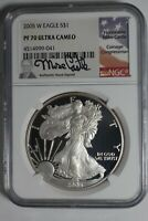 2005-W SILVER EAGLE NGC PF70 ULTRA CAMEO MIKE CASTLE SIGNED LABEL 041