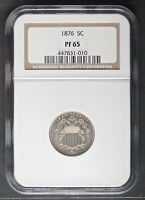 1876 SHIELD NICKEL, CLEAN NGC PF 65 GRADE 5 PROOF COIN