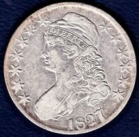 1827, 7 OVER 6, OVERDATE CAPPED BUST HALF,   AU